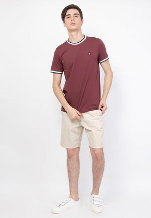 Guardian Ringer T-Shirt in Maroon - Skellyshop Singapore | Skelly Original T-Shirts | skellyshop.co.uk