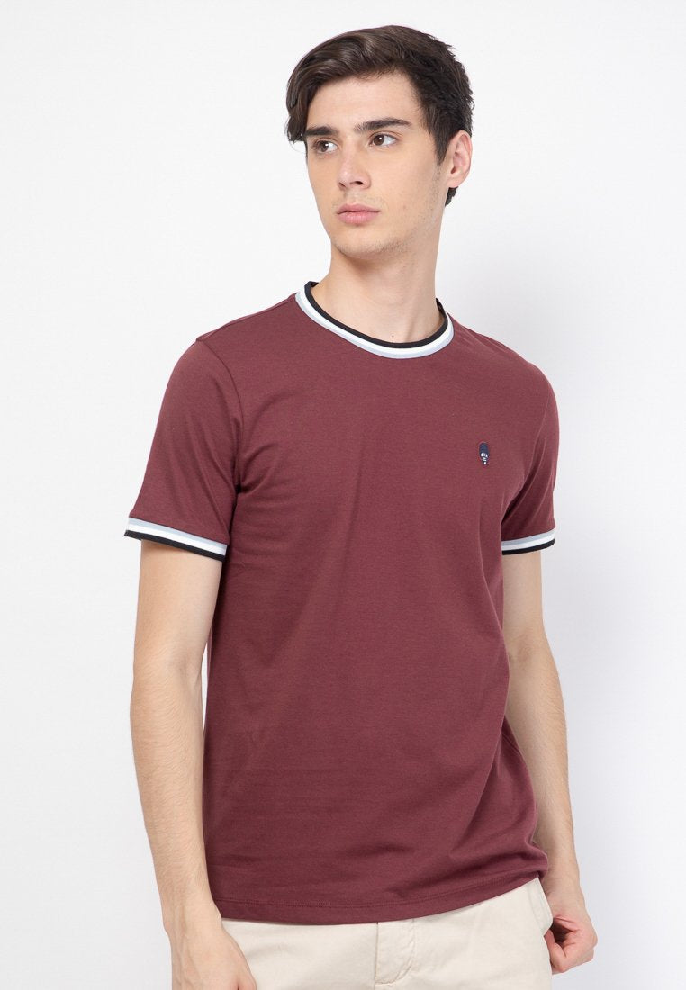 Guardian Ringer Maroon T-Shirt - Skellyshop Singapore | Skelly Original T-Shirts | skellyshop.co.uk