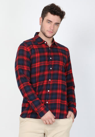 Lucas Flannel LS in Red Plaid - Skellyshop Singapore | Skellyshop Singapore Shirts | skellyshop.co.uk