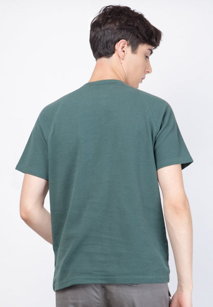 Waffle Henley Raglan in Green - Skellyshop Singapore | Skelly Original T-Shirts | skellyshop.co.uk
