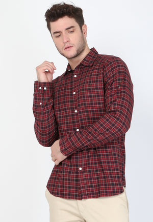 Lucas Flannel LS in Maroon Plaid - Skellyshop Singapore | Skellyshop Singapore Shirts | skellyshop.co.uk