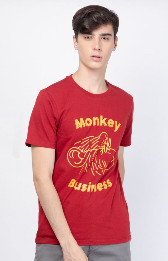 Monkey Business Tee Red Dahlia - Skellyshop Singapore | Skelly Original T-Shirts | skellyshop.co.uk