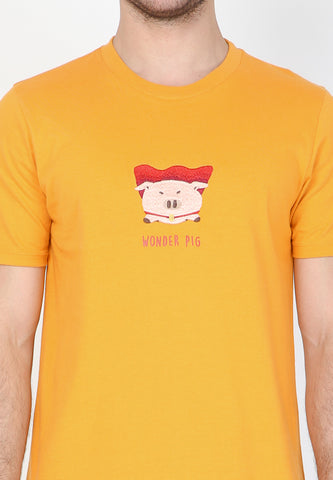 Wonder Pig CNY Graphic T-Shirt in Dark Cheddar - Skellyshop Singapore | Skelly Original T-Shirts | skellyshop.co.uk