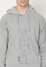 Royal Guard Line Art Hooded Pullover in Grey - Skellyshop Singapore | Skellyshop Singapore Sweatshirts | skellyshop.co.uk
