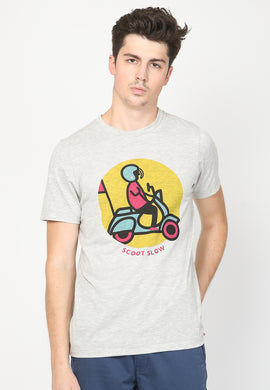 Scoot Slow Tee Graphic T-shirt in Grey Slub - Skellyshop Singapore | Skellyshop Singapore  | skellyshop.co.uk
