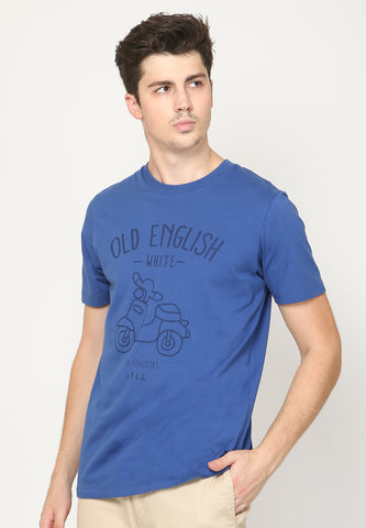 Old Scooter Graphic T-Shirt in Monaco Blue - Skellyshop Singapore | Skellyshop Singapore T-Shirts | skellyshop.co.uk