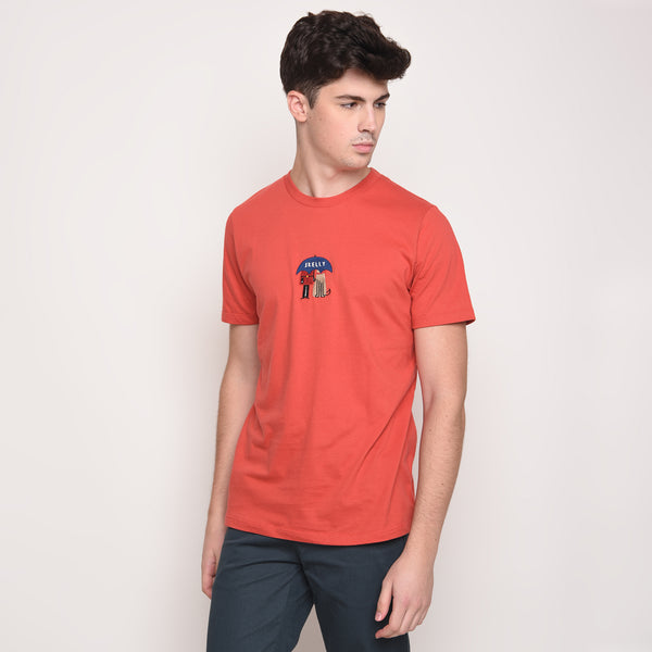 Umbrella Guard Embroidered T-Shirt in Red - Skellyshop Singapore | Skellyshop Singapore T-Shirts | skellyshop.co.uk