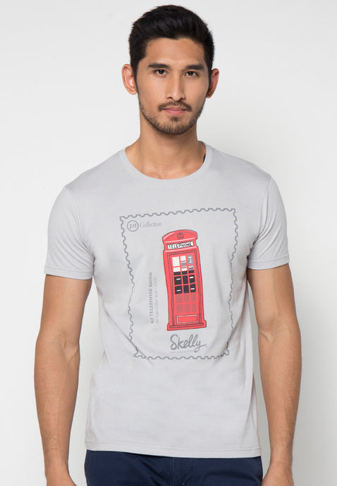 Phone Booth Stamp Graphic T-shirt