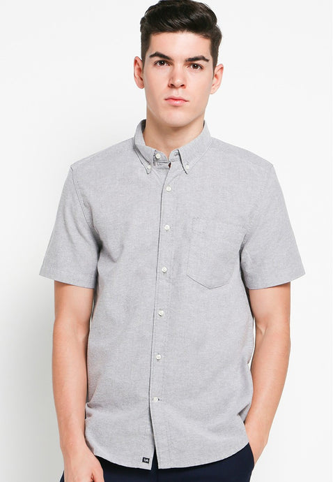 Hiro SS Shirts in Grey Oxford - Skellyshop Singapore | Skelly Collective Shirts | skellyshop.co.uk