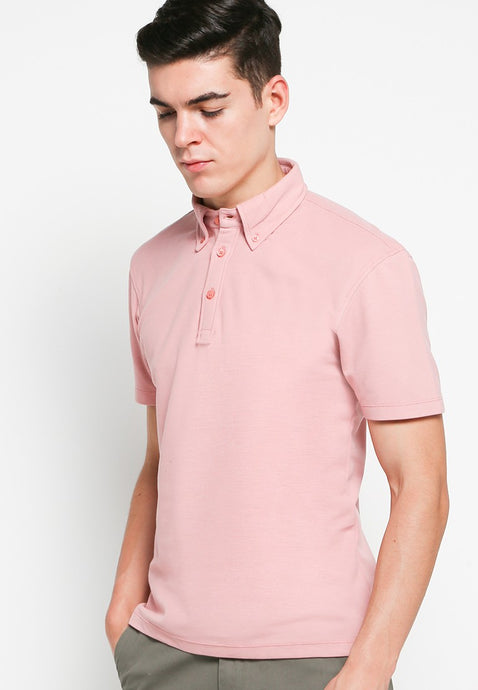 Button Down Polo in Rose