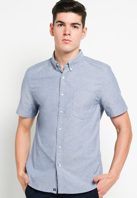 Hiro SS Shirts in Blue Oxford - Skellyshop Singapore | Skelly Collective Shirts | skellyshop.co.uk