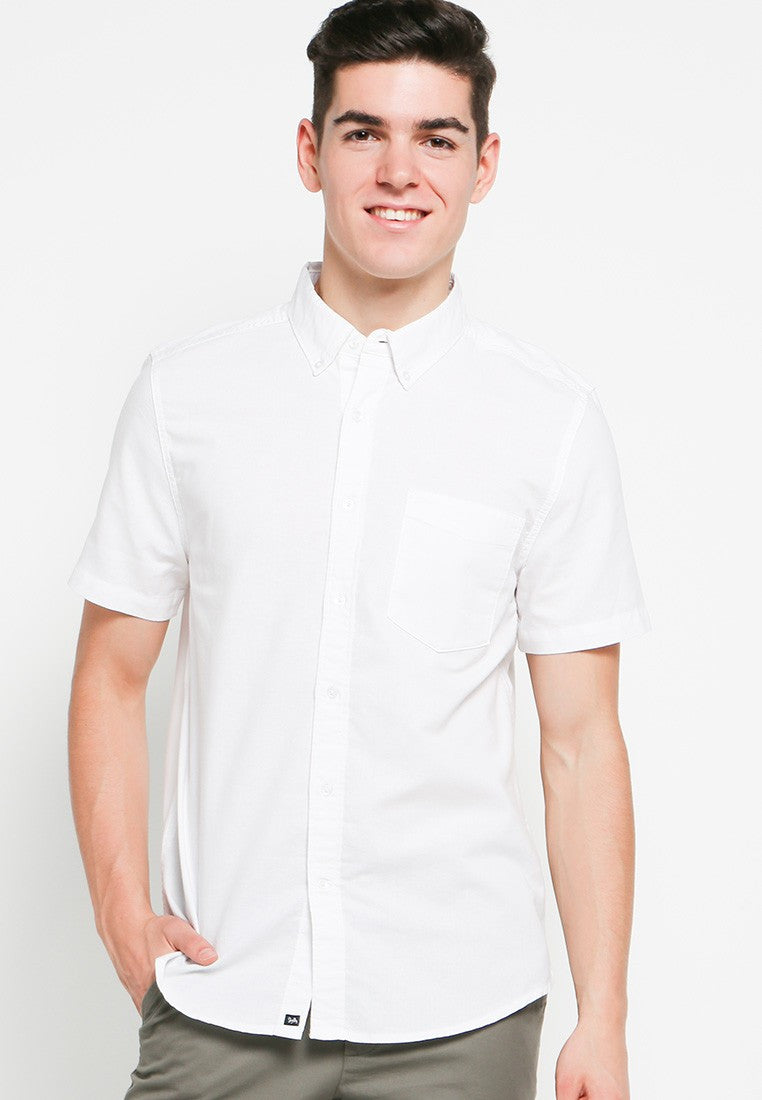 Hiro SS Shirts in White Oxford - Skellyshop Singapore | Skelly Collective Shirts | skellyshop.co.uk