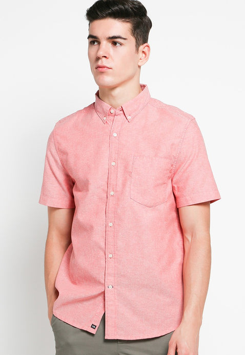 Hiro SS Shirts in Red Oxford - Skellyshop Singapore | Skelly Collective Shirts | skellyshop.co.uk