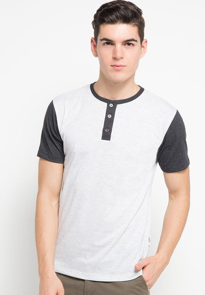 Kouna Contrasting Sleeve Henley T-shirt - Skellyshop Singapore | Skelly Original T-Shirts | skellyshop.co.uk
