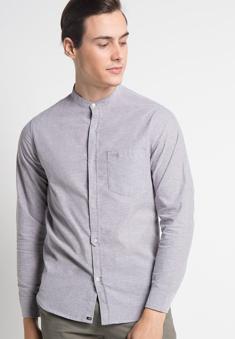 Alan Shirt in Grey Oxford - Skellyshop Singapore | Skelly Collective Shirts | skellyshop.co.uk