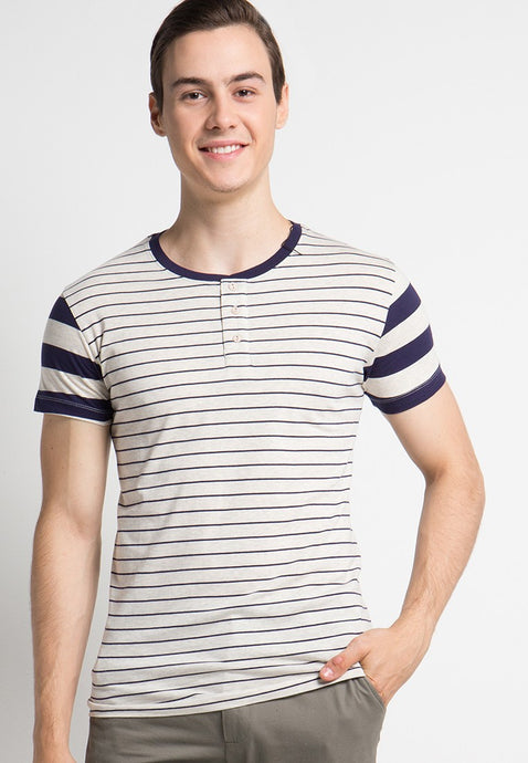 Field Stripe Henley T-shirt in Navy - Skellyshop Singapore | Skelly Original T-Shirts | skellyshop.co.uk