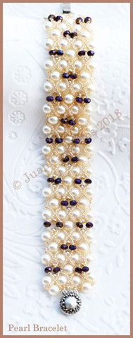 Bead Tutorial - Pearl Bracelet - Embellished Right Angle Weave
