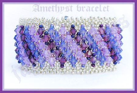 Bead Tutorial - Amethyst Cuff - Embellished Netting Stitch