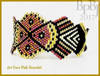 Bead Pattern - Art Deco Fish Bracelet - Brick Stitch