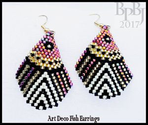 Bead Pattern - Art Deco Fish Earrings - Brick Stitch