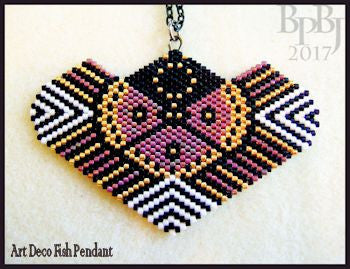 Bead Pattern - Art Deco Fish Pendant - Peyote Stitch