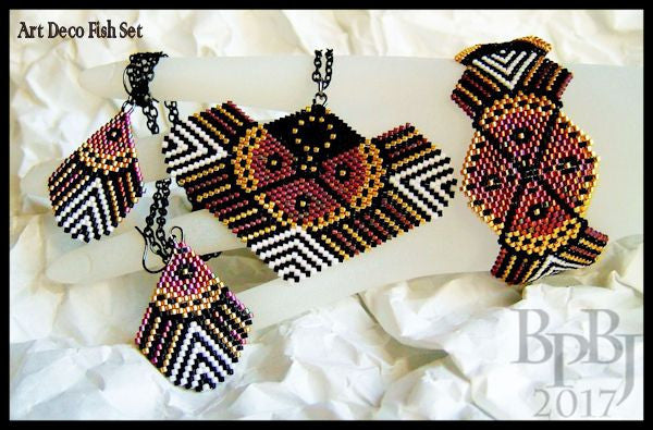 Bead Pattern - Art Deco Fish Set - Brick/Peyote Stitch