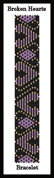 FREE Bead Pattern - Broken Hearts Bracelet - Even count peyote