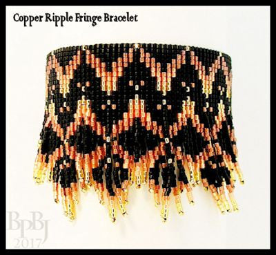 Bead Pattern - Copper Ripple Fringe Bracelet - Loom Stitch