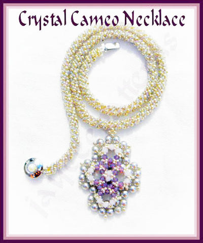 Bead Tutorial - Crystal Cameo Necklace - Triangle Weave Embellished