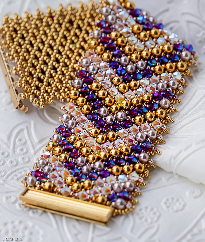 Beaded Bracelet Tutorial - Crystal Bracelet #2 - Netting stitch