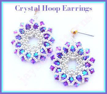 Bead Tutorial - Crystal Hoop Earrings - Netting Stitch