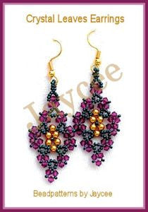 Bead Tutorial - Crystal Leaves Earrings - Triangle Weave and Netting Stitch