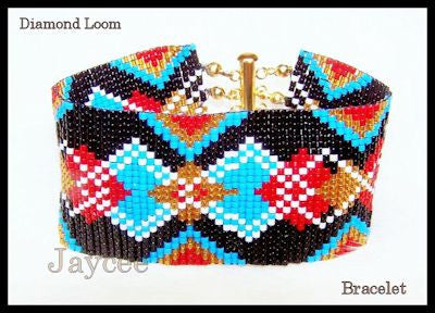 Bead Pattern - Diamond Loom Bracelet - Loom or Square Stitch