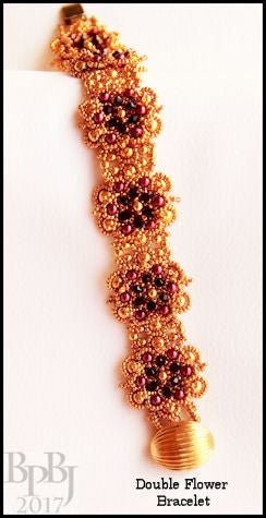 Bead Tutorial - Double Flower Bracelet - Netting Stitch