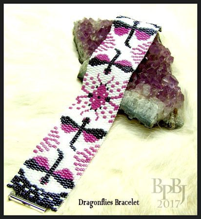 Bead Pattern - Dragonflies Bracelet - 2 Drop Odd Count Peyote Stitch