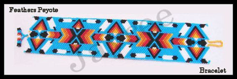 Bead Pattern - Feathers Peyote Bracelet - Odd Count Peyote