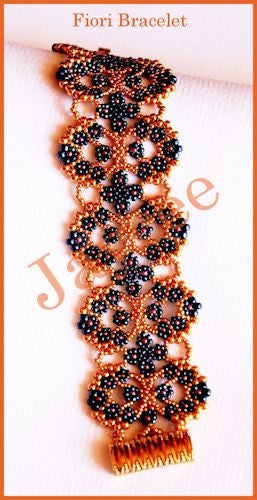 Bead Tutorial - Fiori Bracelet - Peyote and Netting Stitch