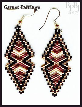 Bead Pattern - Garnet Pendant and Earrings - Peyote Stitch