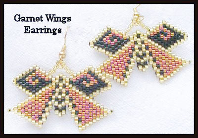 Bead Pattern - Garnet Wings Earrings - Brick Stitch
