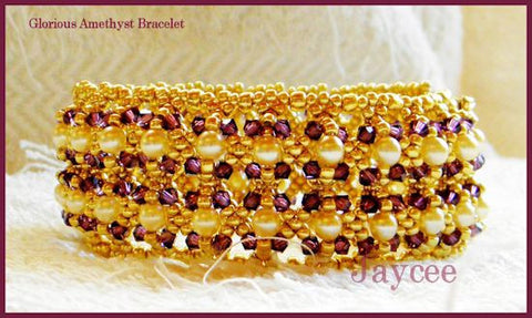 Bead Tutorial - Glorious Amethyst Bracelet - Embellished Netting Stitch