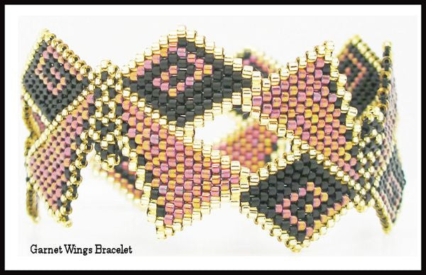 Bead Pattern - Garnet Wings Bracelet - Brick Stitch