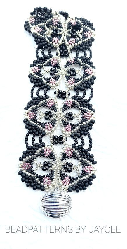 Beaded Bracelet Tutorial - Juanita Bracelet - Peyote and Netting Stitch
