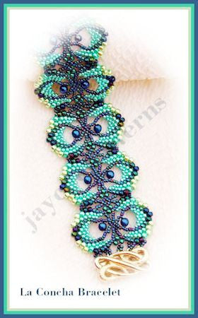 Bead Tutorial - La Concha Bracelet - Peyote and Netting Stitch