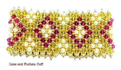 Bead Tutorial - Lime 'n Fuchsia Cuff - Embellished Netting Stitch