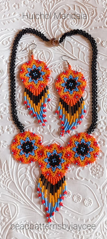 Bead Tutorial - Huichol Mandala Necklace and Earrings