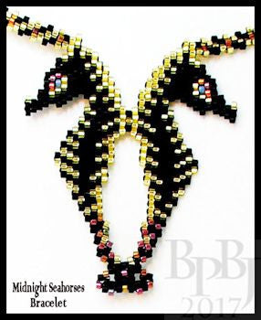 Bead Pattern - Midnight Seahorses Pendant - Advanced Peyote or Brick Stitch