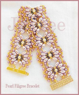 Bead Tutorial - Pearl Filigree Bracelet - Netting Stitch