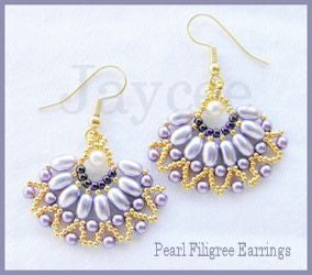 Bead Tutorial - Pearl Filigree Earrings - Netting Stitch