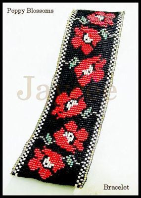 Bead Pattern - Poppy Blossoms Bracelet - Loom Stitch