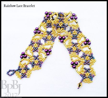 Bead Tutorial - Rainbow Lace Bracelet - Netting Stitch